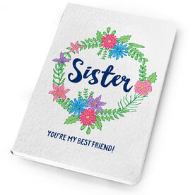 Personalized Notebook - Sister Floral Wreath