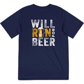 Men's Running Short Sleeve Performance Tee - Will Run For Beer