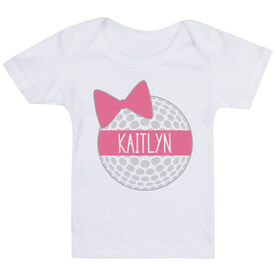 Golf Baby T-Shirt - Personalized Golf Ball Bow
