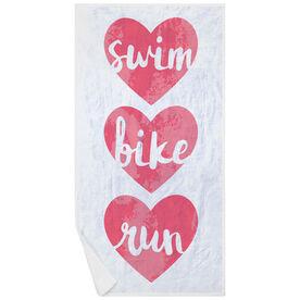 Triathlon Premium Beach Towel - Swim Bike Run Watercolor Hearts