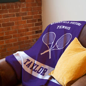 Tennis Premium Blanket - Personalized Team with Crossed Rackets