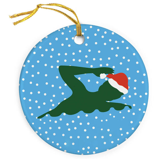 f7c00ebc4f9 ... Swimming Porcelain Ornament Swim Silhouette With Santa Hat ...