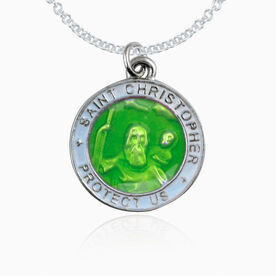 St. Christopher Lacrosse Player Guardian Medal Necklace (2.3cm) (Green With Blue Trim)