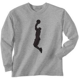 Basketball Tshirt Long Sleeve Basketball Player Silhouette
