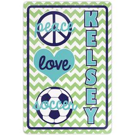 "Soccer Aluminum Room Sign Personalized Peace Love Soccer Chevron (18"" X 12"")"