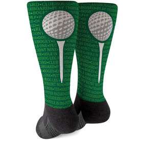 Golf Printed Mid-Calf Socks - Ball Terms