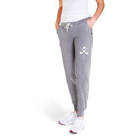 Field Hockey Women's Joggers - Crossed Sticks With Heart