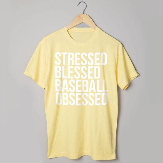 Baseball Short Sleeve T-Shirt - Stressed Blessed Baseball Obsessed