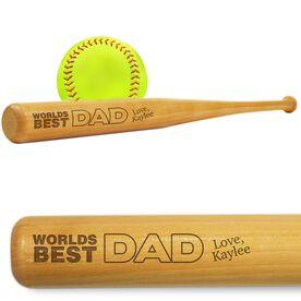 Softball Mini Engraved Bat Worlds Best Dad