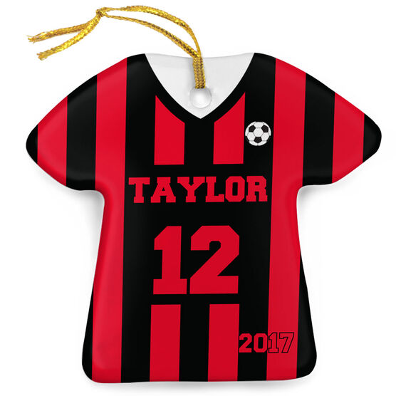 Soccer Porcelain Ornament Personalized Stripes Jersey