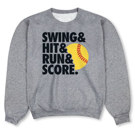 Softball Crew Neck Sweatshirt - Swing Hit Run Score