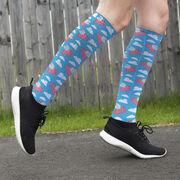 Running Printed Knee-High Socks - Flying Pigs