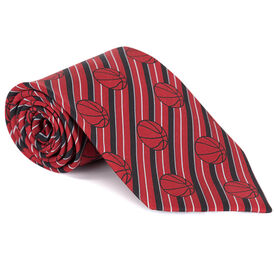 Basketball Red Stripe Pattern with Red Web Silk Tie
