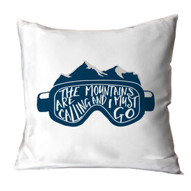Skiing and Snowboarding Throw Pillow - The Mountains Are Calling Goggles