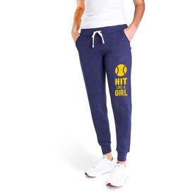 Softball Women's Joggers - Hit Like A Girl (Yellow)