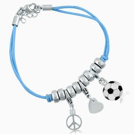 Peace Love Soccer Enamel Charm Bracelet