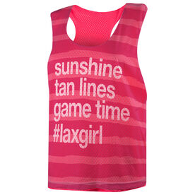 Girls Lacrosse Racerback Pinnie - Sunshine Tan Lines Game Time