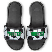 Soccer Repwell® Slide Sandals - Soccer Ball Texture With Text