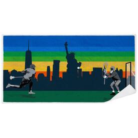 Guys Lacrosse Premium Beach Towel - Go for the Goal NYC