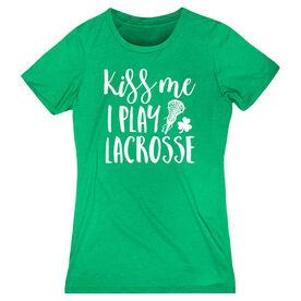 Girls Lacrosse Women's Everyday Tee - Kiss Me I Play Lacrosse
