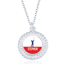 Golf Braided Circle Necklace - Male Player Silhouette With Name