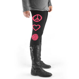 Volleyball High Print Leggings Peace Love Volleyball