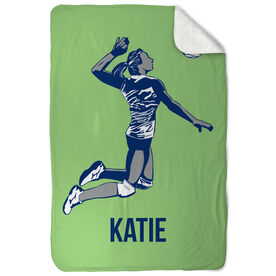 Volleyball Sherpa Fleece Blanket - Personalized Silhouette with Volleyball