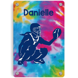 Softball Metal Wall Art Panel - Personalized Catcher With Tie-Dye