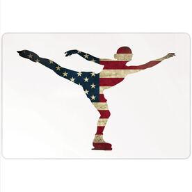 "Figure Skating 18"" X 12"" Aluminum Room Sign - American Flag Silhouette"