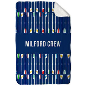 Crew Sherpa Fleece Blanket - Personalized Oar Pattern