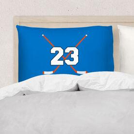 Hockey Pillowcase - Personalized Crossed Sticks
