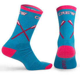Crew Woven Mid-Calf Socks - Crossed Oars (Light Blue/Pink)