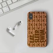 Swimming Engraved Wood IPhone® Case - Eat. Sleep. Swim.