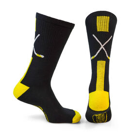 Hockey Woven Mid-Calf Socks - Sticks (Black/Gold)