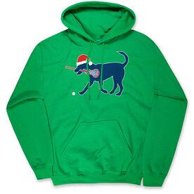 Girls Lacrosse Hooded Sweatshirt - Christmas Dog