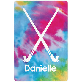 """Field Hockey 18"""" X 12"""" Aluminum Room Sign - Personalized Tie-Dye Pattern with Sticks"""