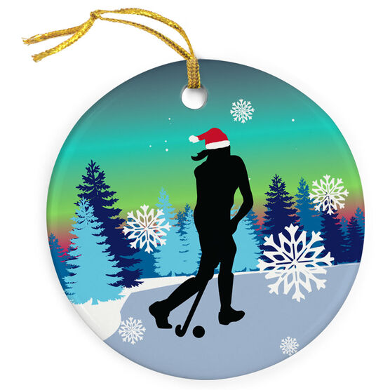 81a54d72452 ... Field Hockey Porcelain Ornament Field Hockey Silhouette With Santa Hat  ...