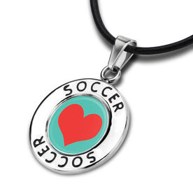 Soccer Circle Necklace Heart