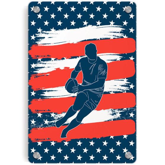 Rugby Metal Wall Art Panel - USA Player