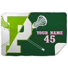 Sherpa Fleece Blanket - Personalized Pentucket Youth Girls Lacrosse Logo