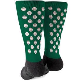 Baseball Printed Mid-Calf Socks - Baseball Pattern