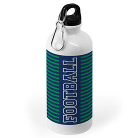 Football 20 oz. Stainless Steel Water Bottle - Word With Stripes