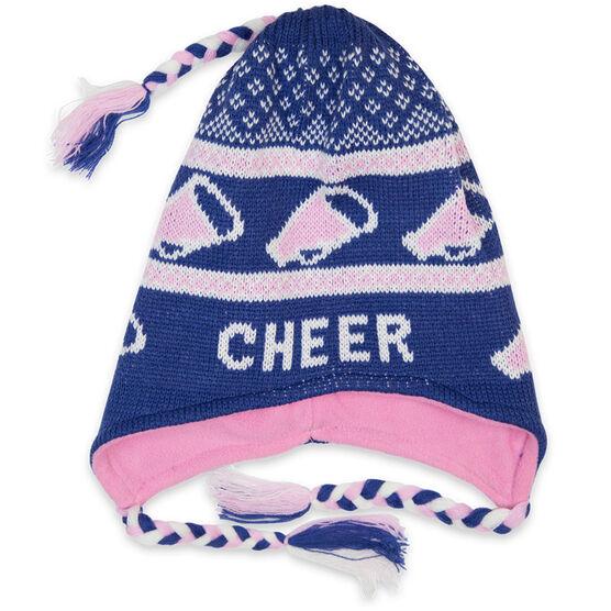 Fleece Lined Knit CHEER Hat Blue/Pink