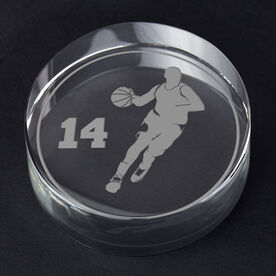 Basketball Personalized Engraved Crystal Gift - Personalized Silhouette (Male)