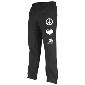 Peace Love Swimming (Symbols) Fleece Sweatpants