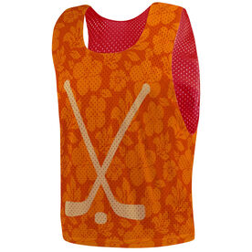 Hockey Pinnie - Hibiscus Crossed Sticks