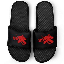 Hockey Black Slide Sandals - Goalie with Number