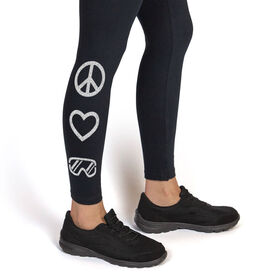 Snowboarding Leggings Peace Love Snowboard