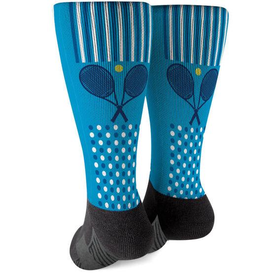 Tennis Printed Mid-Calf Socks - Crossed Rackets with Pattern