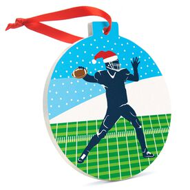 Football Round Ceramic Ornament Silhouette with Santa Hat